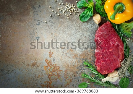 Raw meat herbs and vegetables, culinary background - stock photo