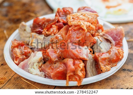 Raw meat on plate prepared for grilling on the barbeque - stock photo