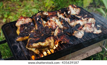 Raw meat prepared on the grill. Cooking barbecue on grill flame. Food meat preparing on nature picnic outdoors. Meat on bbq barbecue grill with flame. Marinated chicken legs on barbecue grill. - stock photo