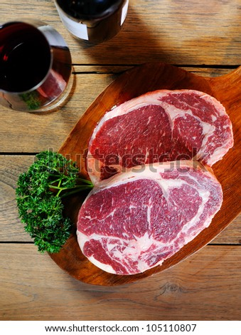 raw meat with wine - stock photo