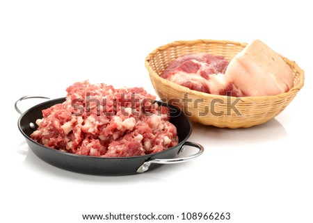 Raw Minced Meat Isolated on White Background - stock photo