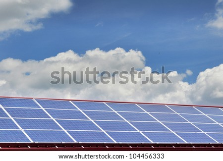 Raw of solar panels - stock photo