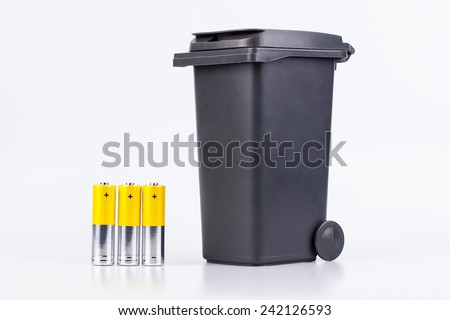 Raw of yellow AA alkaline batteries isolated on white background - stock photo