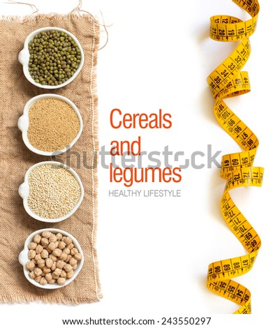 Raw Organic Amaranth and quinoa grains, chickpea and mung beans in small bowls - stock photo