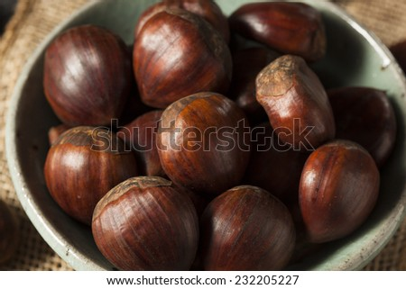 Raw Organic Brown Chestnuts in a Bowl - stock photo