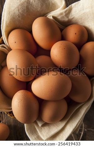 Raw Organic Brown Eggs in a Basket - stock photo