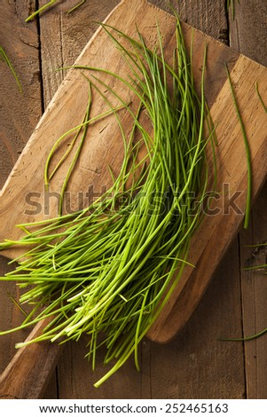 Raw Organic Green Chives on a Cutting Board - stock photo