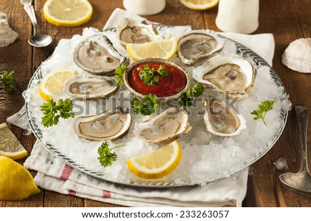 Raw Organic Oysters with Lemon and Cockatail Sauce - stock photo