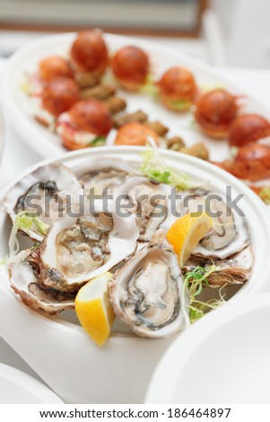 Raw oysters and another dishes on table - stock photo
