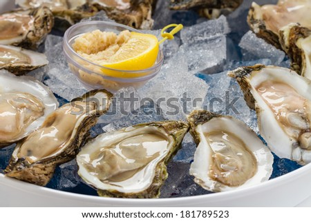 Raw Oysters served on the half shell over ice. - stock photo