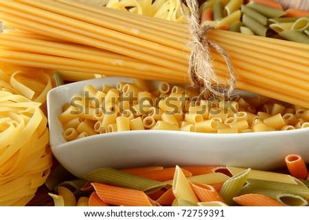 raw pasta  background - stock photo