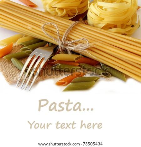 Raw pasta isolate on white - stock photo