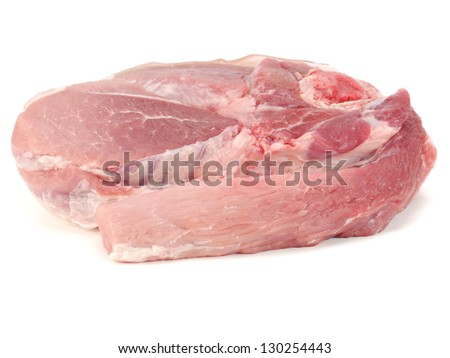 raw pork meat with bone on a white background - stock photo