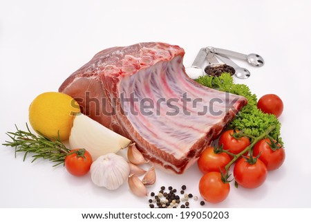 Raw pork ready to be cooked isolated on white. - stock photo