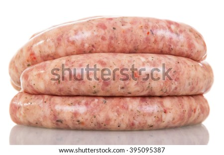 Raw pork sausages isolated on white background. - stock photo