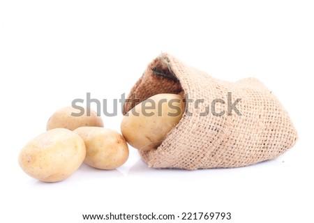 Raw Potato from Garden closeup on Sacking background  - stock photo