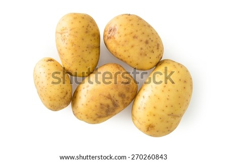 Raw potato isolated on white, with clipping path - stock photo