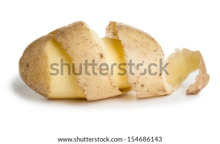 Raw potato with cutting peel isolated on white background - stock photo