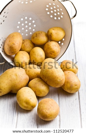 raw potatoes in colander on kitchen table - stock photo