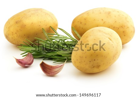 raw potatoes with rosemary and cloves of garlic - stock photo
