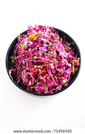 raw red cabbage salad vertical - stock photo