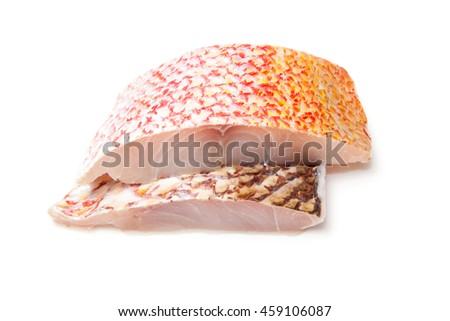 Raw Red Snapper fish fillets isolated on a white studio background. - stock photo