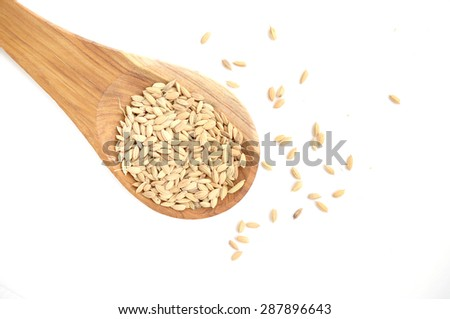 Raw rice in wooden spoon on white background. - stock photo