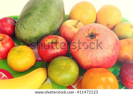 Raw ripe exotic fruit.  Toned colors vintage photo  - stock photo
