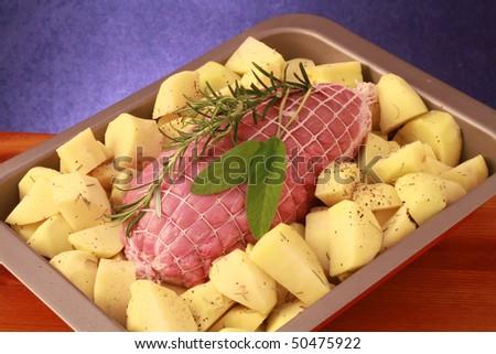 raw roast with potatoes - stock photo