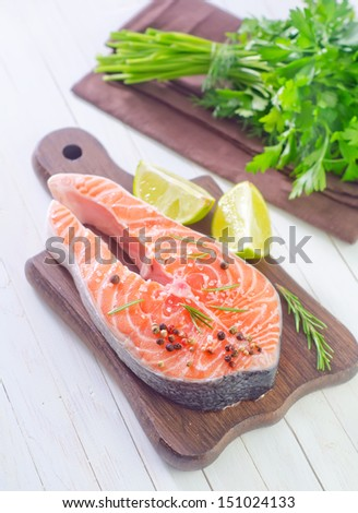 raw salmon - stock photo