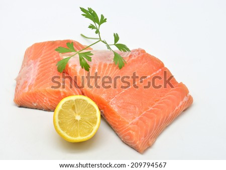 raw salmon fillet isolated on white background - stock photo
