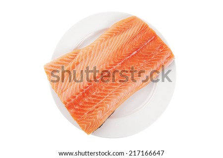 raw salmon fillet isolated on white plate - stock photo