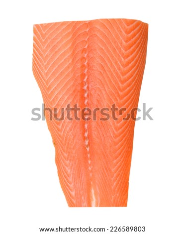 raw salmon fillet isolated over white background  - stock photo