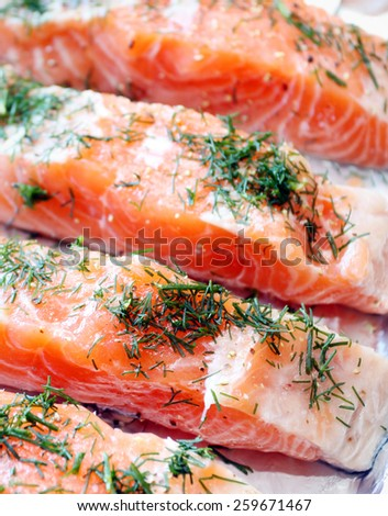 Raw salmon with dill - stock photo