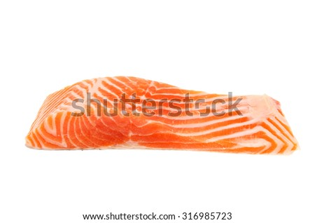 Raw sea trout fillet isolated against white - stock photo