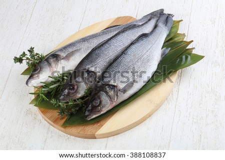 Raw seabass fish with thyme and rosemary - stock photo