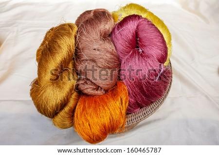 Raw silk before weaving - stock photo