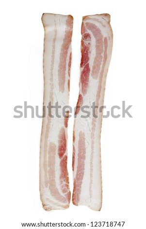 Raw slice of bacon displayed on white background. - stock photo