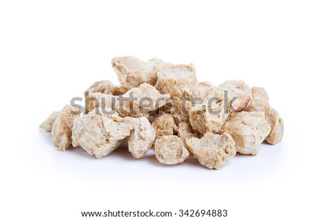 Raw Soya Chunks, Soy Meat for vegans isolated on white background - stock photo