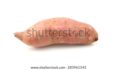 Raw sweet potato, isolated on a white background - stock photo