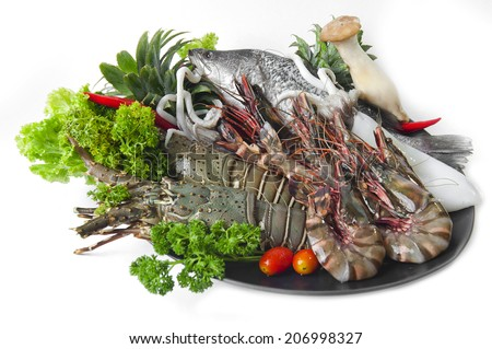 Raw Tiger shrimp, Raw fish, Raw lobster, Raw squid on white background - stock photo
