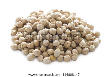 raw uncooked dry chickpeas isolated on white - stock photo