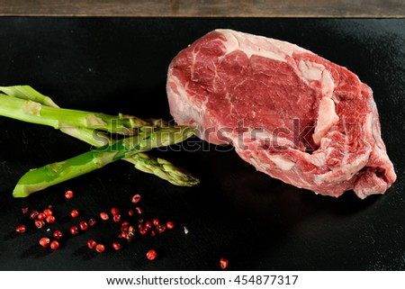 Raw uncooked meat beef steak - stock photo