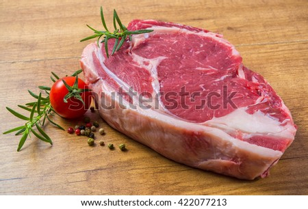 Raw veal chop - stock photo