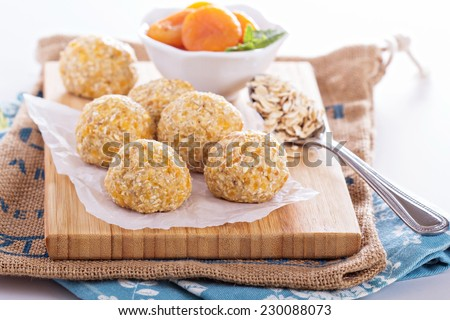 Raw vegan oat apricot banana balls for power breakfast - stock photo