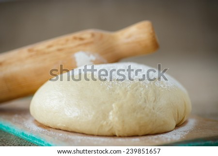 raw yeast dough with flour on a wooden board - stock photo