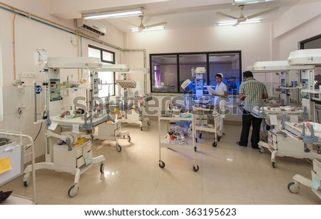 RAXAUL, INDIA - NOV 13: Neonatal intensive care unit of a local hospital on November 13, 2013 in Raxaul, Bihar, India. Bihar is one of the poorest states in India. - stock photo