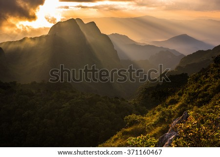 Raylight sunset Landscape at Doi Luang Chiang Dao, High mountain in Chiang Mai Province, Thailand - stock photo