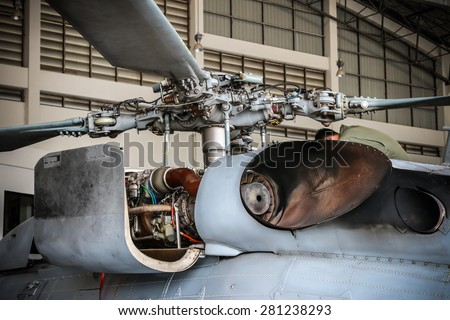 RAYONG , THAILAND- April 26 2015: Rotor of Sikorsky UH-60 Black Hawk helicopter of royal thai navy standby in the hangar for maintenance.  U-TAPAO Airport, Rayong - stock photo