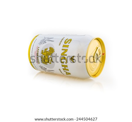 RAYONG,THAILAND - JANUARY 15, 2015: Can of Singha beer on white background , Rayong Thailand - stock photo